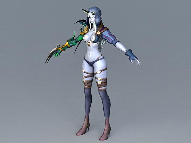 Pathfinder Female Elf Ranger 3d model - CadNav