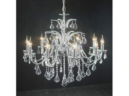 Crystal Chandelier with Candle Lights 3d model