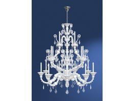 Antique 18 Light Crystal Chandelier 3d model
