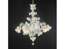 Antique Chandelier with Flowers 3d model