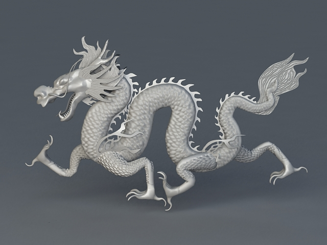 White Chinese Dragon 3d model