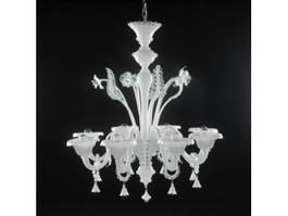 Crystal Light White Chandelier 3d model