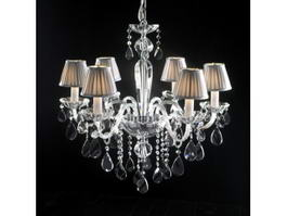 6 Light Crystal Chandelier with Shades 3d model