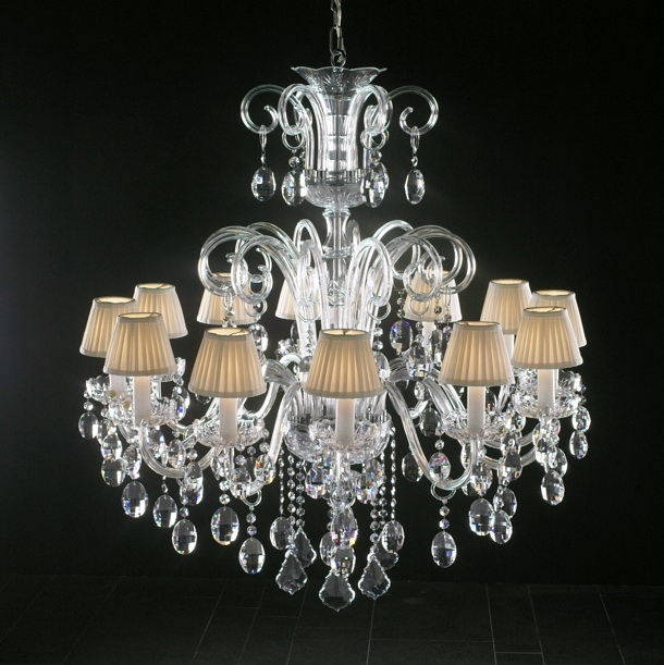 Antique Crystal Chandelier with Shades 3d model