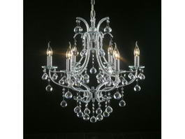 6 Candles Crystal Chandelier 3d model