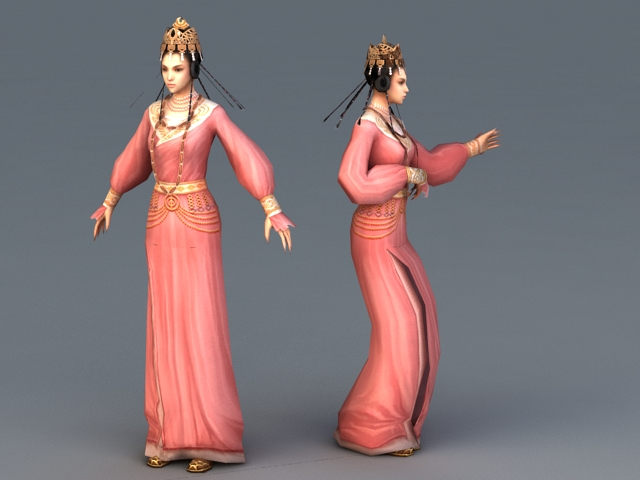 Tang Dynasty Female Dancer Animation 3d model