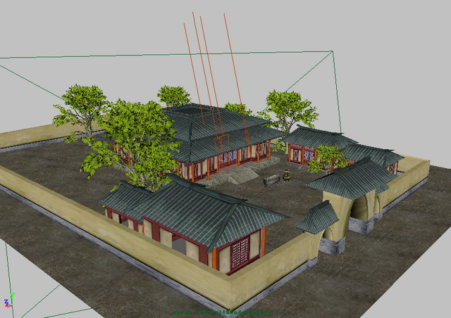 Traditional Chinese Courtyard House 3d Model Maya Files