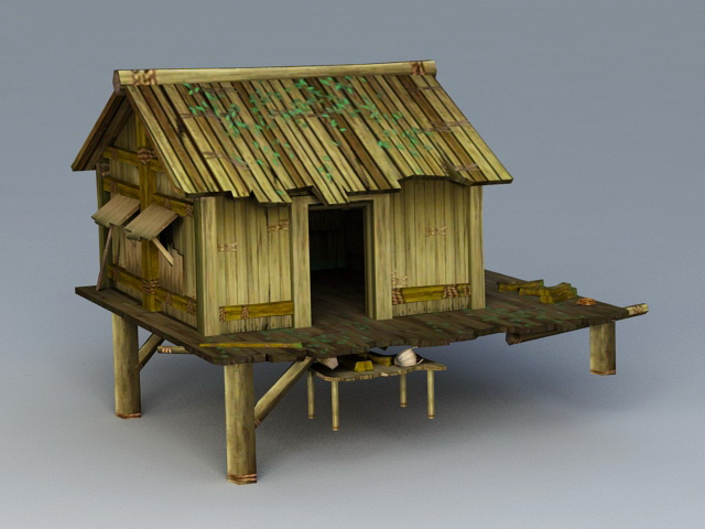 Detached Log Cabin 3d model