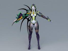 Female Devil Warrior Rigged 3d model