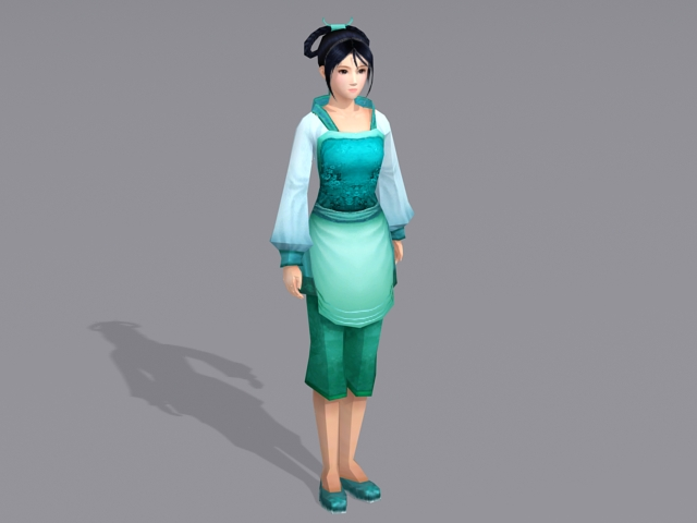 Ancient Chinese Peasants Girl 3d model