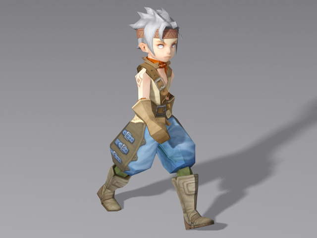 Medieval Anime Boy Walking Rigged 3d model