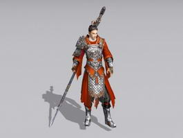 Ancient Chinese Warrior with Spear 3d model