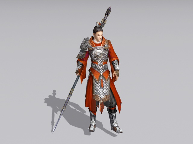 Ancient Chinese Warrior With Spear 3d Model 3ds Max Files