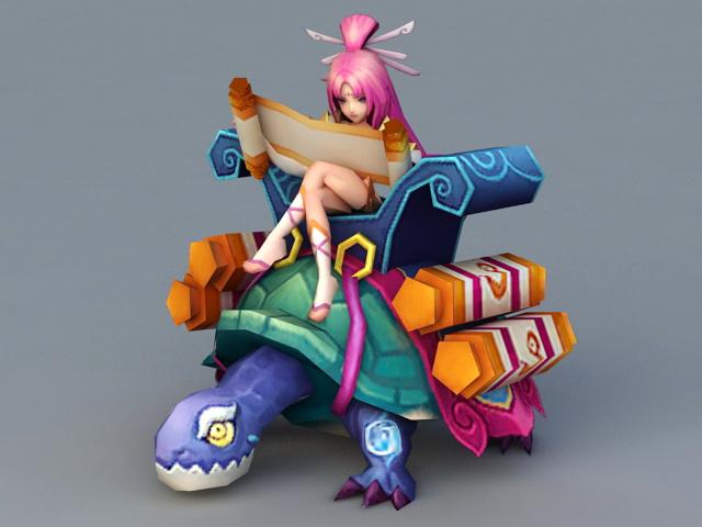 Anime Turtle Girl 3d model
