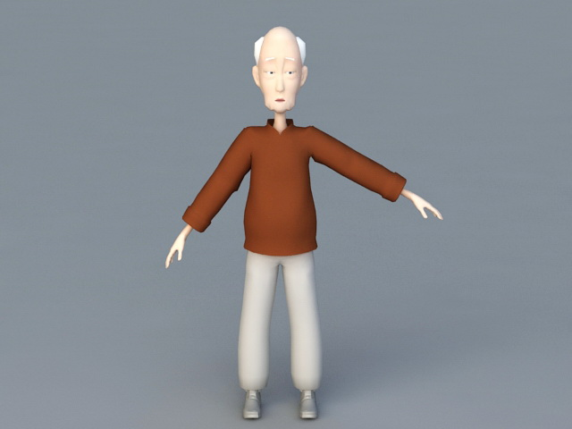 Rigged Old Man Cartoon 3d Model 3ds Max Files Free