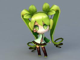 Chibi Miku Rigged 3d model