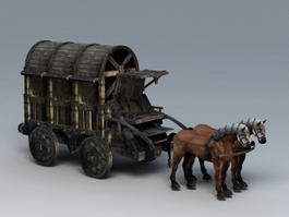 Medieval Heavy Horse Wagon 3d model