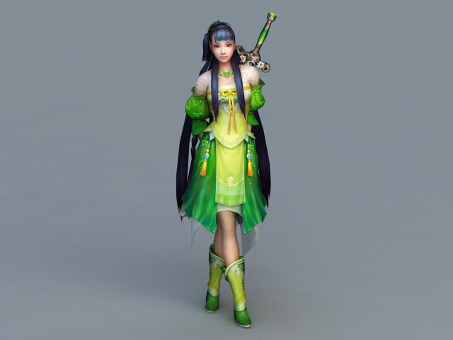 Chinese Swordswoman Rigged 3d model 3ds Max files free ...