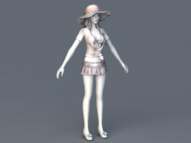 Summer Beach Girl 3d model