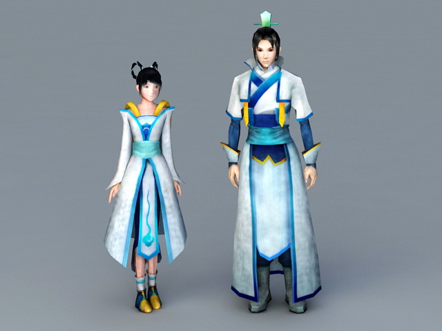 Ancient Chinese Anime Couples 3d model