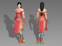 Pretty Chinese Warrior Girl 3d model