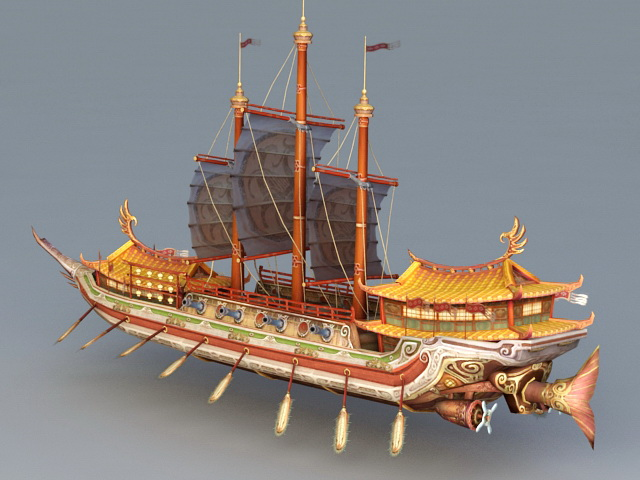 Chinese Junk Ship 3d model 3ds Max files free download ...