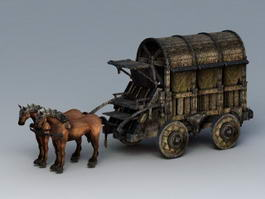 Old Horse-Drawn Carriage 3d model