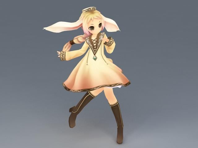 Anime Forest Elf Girl 3d model