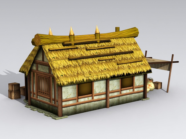 ancient thatched cottage 3d model 3ds max files free