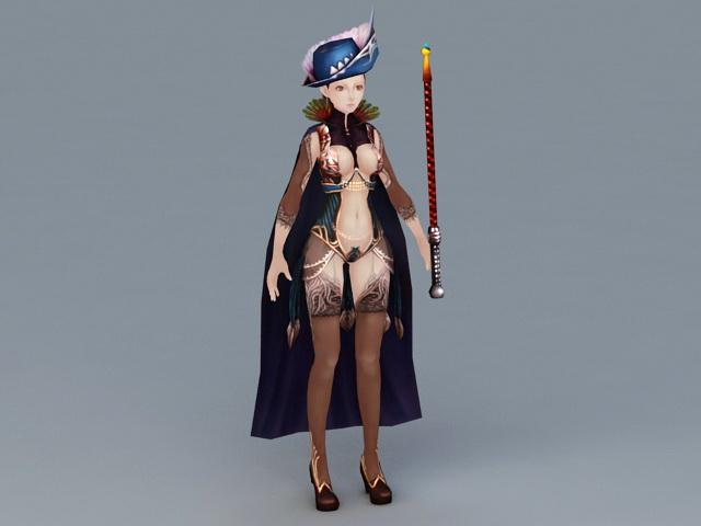 Female Magician 3d model