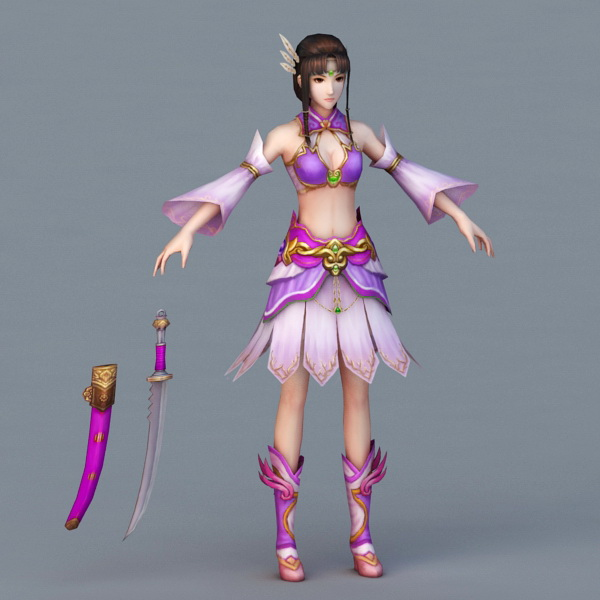 Warrior Woman with Sword 3d model