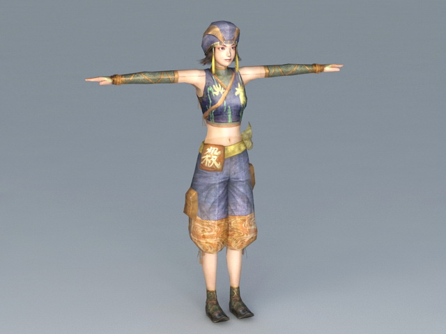 Female Samurai Warrior 3d model