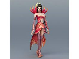 Female Fire Sorceress 3d model