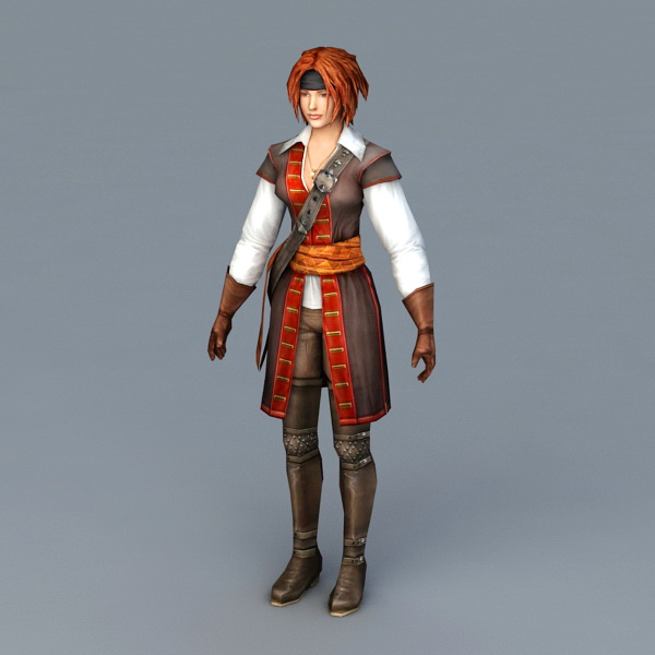 Pretty Female Pirate 3d model