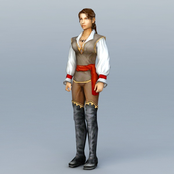 Medieval Women Warrior 3d model