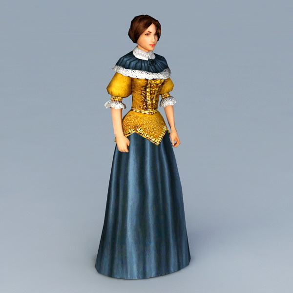 Medieval Young Lady 3d model
