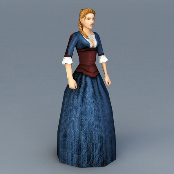 Old Wild West Woman 3d model