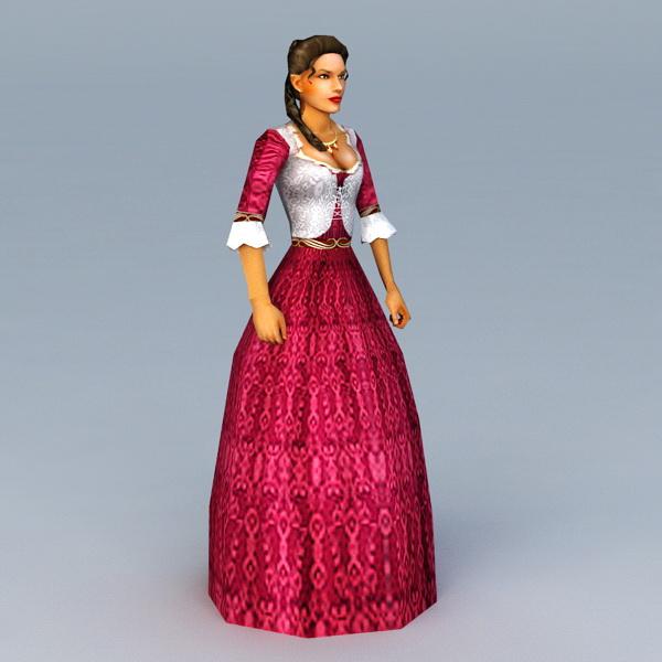 17th Century American Woman 3d model