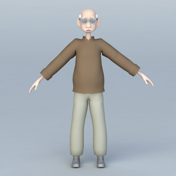 Old Man Cartoon Character Rigged 3d model