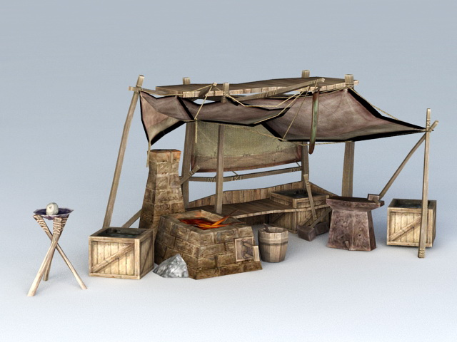Ancient Chinese Blacksmith Workshop 3d Model 3ds Max Files