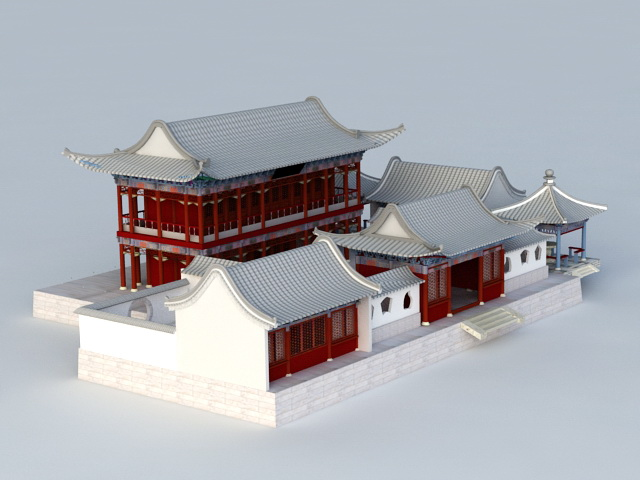 Chinese Courtyard House 3d Model 3ds Max Files Free