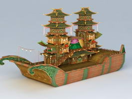 Ancient Chinese Large Pleasure Boat 3d model