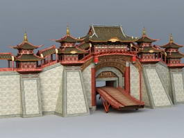 Ancient China City Wall 3d model