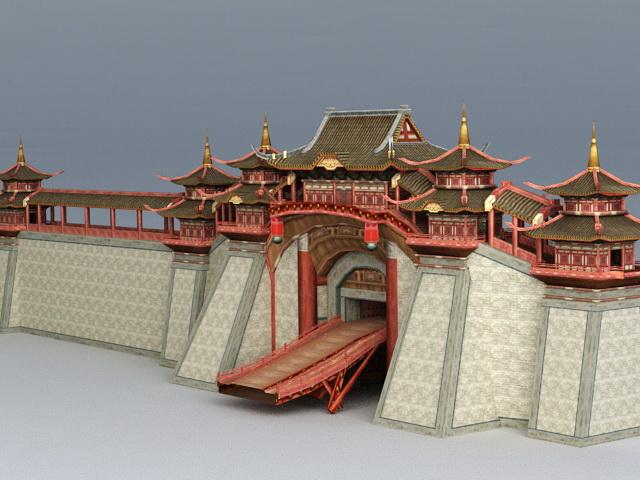 Ancient China City Wall 3d model