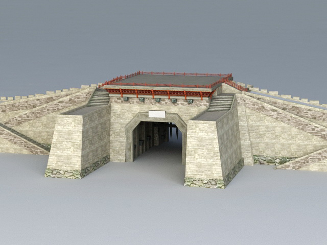 Ancient China City Gate 3d model