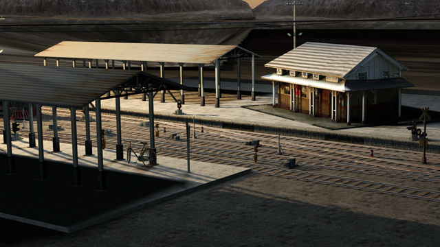 Old Train Station Scene 3d model 3ds Max files free download