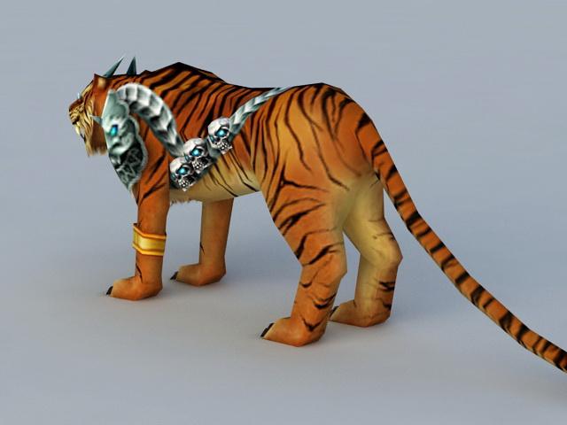 Battle Tiger Rigged 3d model 3ds Max files free download - modeling