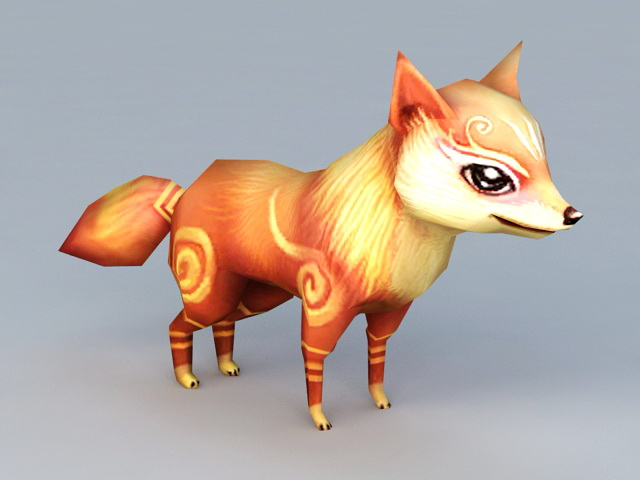 Anime Fox Animal Rigged 3d Model 3ds Max Files Free