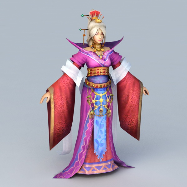 Medieval Chinese Old Lady 3d model