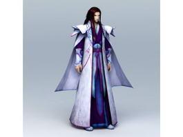 Anime Guy with Long Hair 3d model